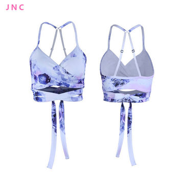 Women's Low Support Tie Sports Bra Ideal For Hot Yoga Long Line Strappy wrap crop Yoga Top Sports Bra for Dance New Activewear