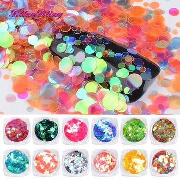 Transparent Mermaid Nail Glitter Round Paillette Glitter Nail 12 Box Nail Art Decoration Iridescent Sequin Shining Nail