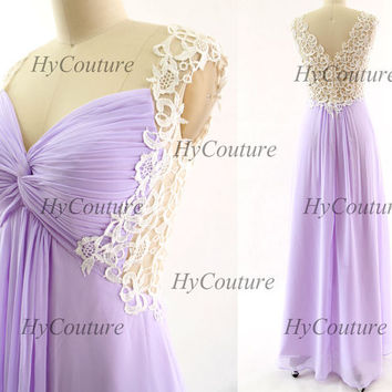Lavender Prom Dresses, Lace Straps Long Chiffon Prom Gown, Straps Lace Chiffon Lilac Formal Dresses, Floor Length Wedding Party Gown