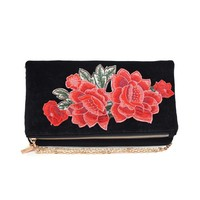 Tallulah Black Velvet Embroidered Roses
