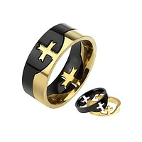 Crowning Cross - Two piece two tone black and gold IP stainless steel cross men's puzzle ring
