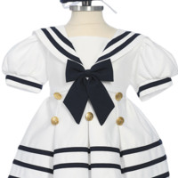 White Classic Nautical Sailor Dress with Navy Blue Trim & Beret Style Hat (Baby or Toddler Girls)