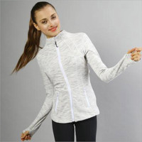 """""""lululemon""""Sports show hand-picked stretch yoga cardigan jacket zipper cultivate one's morality White-Grey"""