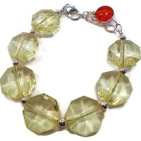 Yellow Octagonal Bracelet, with Sterling Silver Beads, and a Red Acrylic Charm. Adjustable Ladies Bracelet, in a Womanly Jewelry Design.
