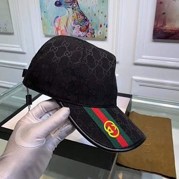 """Gucci"" Unisex All-match Simple Embroidery Letter Printing Spell Color Stripe  Baseball Cap Couple Peaked Cap  Sun Hat"