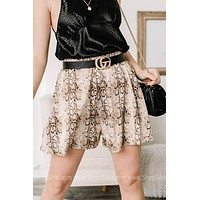 Going For Greatness Snake Print Swing Shorts