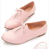 Boyfriend Style Womens Lace Up Oxford Flat Shoes in Pink, Red, Brick Red