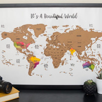 It's a Beautiful World Scratch Your Travels™ - World Map (30x20in) Watercolor Art International Poster - Wedding Anniversary Gift