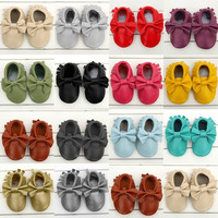 Cool Boys Baby Toddler Girls Soft Boeknot Moccasins Tassel Leather Shoes 0-24M = 1932107076