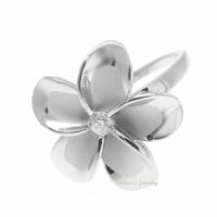 STERLING SILVER 925 HAWAIIAN PLUMERIA FLOWER RING 21MM CZ RHODIUM SIZE 3-12