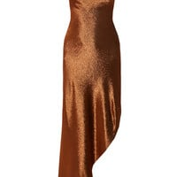 Juan Carlos Obando - Asymmetric metallic stretch silk-blend maxi dress