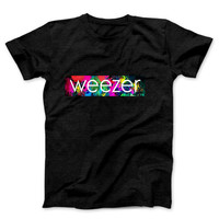 Weezer Title With Background Fan Art Mens T Shirt