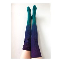 Thigh High Socks Turquoise Grape Dip Dye