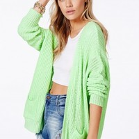 Missguided - Caress Boyfriend Cardigan In Mint