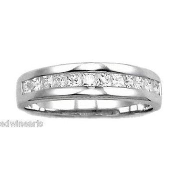 Sterling Silver Princess Cut Cubic Zirconia Wedding Ring Band
