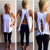 High Quality Summer New Fashion Women's Hot Sale Sexy Backless Tank Tops O-neck Sleeveless Casual T-shirts S-XL [8802330252]