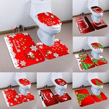 3Pcs Christmas Bathroom Non-Slip Pedestal Rug + Toilet Lid Cover + Bath Mat Set