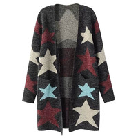 Starry Print Long Sleeve Knit Cardigan
