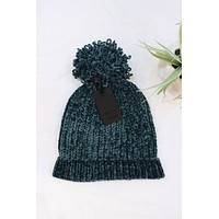 Chenille Pom Knit Beanie - Teal