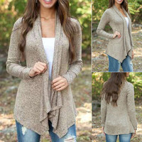 Hot Popular Women Solid Stand Collar  Sweater Cardigan Coat Jacket Outerwear _ 10249