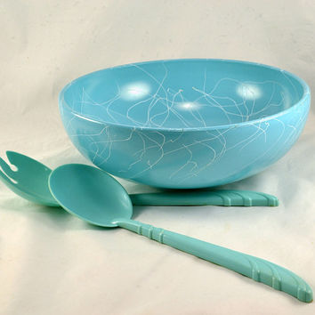 "Turquoise Drizzle Bowl Hazel Atlas Glass 50s Atomic Era - Large 10"" Serving Bowl - Spaghetti String Pattern - Bonus Salad Servers Included"