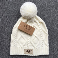 Trendy White UGG Autumn Winter Soft knitted Beanies Hat