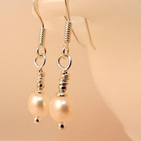 Small Pearl Earrings with Sterling Silver Ear Wires for Bride or Bridesmaids Classic White