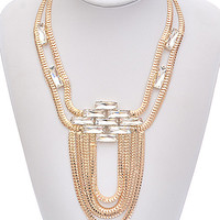 Gold Chains & Clear Rhinestone Necklace