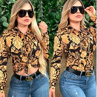 VERSACE Fashion Women Long Sleeved Lapel Shirt Top