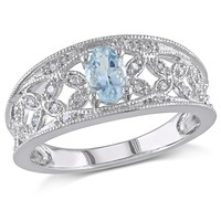 1/10 CT  Diamond TW And 3/8 CT TGW Aquamarine Fashion Ring  Silver GH I2;I3