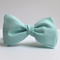 Bow Tie for Men by BartekDesign: self tie mint green pastel grooms wedding classic retro necktie chic handmade gift for him