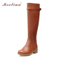 Women Riding Boots Round Toe Chunky Low Heel Motorcycle Boots Shoes Zipper Fashion Buckle Women Boots Brown Yellow Big Size 9 10