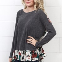 Back Up Velvet Floral Ruffled Knit Sweater {Charcoal}