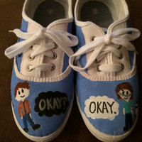 The Fault in Our Stars shoes. Hand painted Cabvas shoes. Size 8.