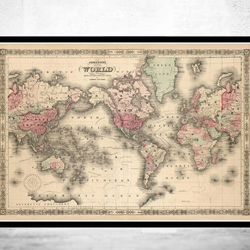 Old World Map Atlas Vintage World Map 1864 Mercator projection