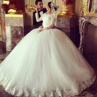 Ball Gown Wedding Dresses Lace Beaded Applique White Long Sleeve