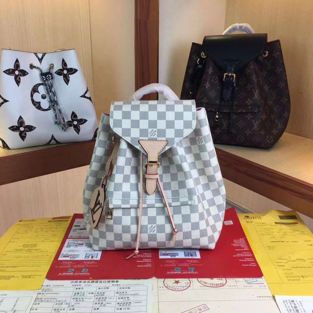 Image of LV Louis Vuitton DAMIER CANVAS SMALL Montsouris BACKPACK BAG