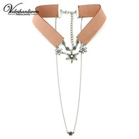 New Arrival ZA Leather Rope Crystal Flower Double Chain Necklaces & Pendants Vintage Rhinestones Collar Choker Necklace
