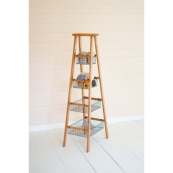 Wooden Ladder With Wire Baskets Display