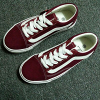 Vans Classics Old Skool Black Sneaker Fashion Wine red