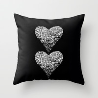 two sparkling hearts Throw Pillow by Marianna Tankelevich