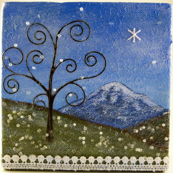 Solstice Snow, Whimsical Winter Snow Tree Mountain Abstract Landscape, Original Mixed Media Miniature Art Canvas