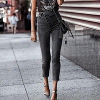 Fashion Women High Waist Jeans Casual High Street Fold Pencil Pants Female Skinny Denim Plus Size Capris