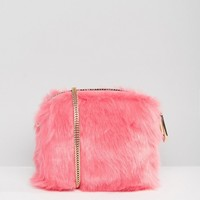 River Island Mini Faux Fur Cross Body Bag at asos.com
