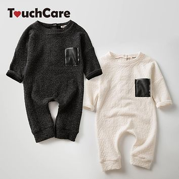 Cotton Long Sleeve Black White Baby Jumpsuits Twins Brother Sister Romper Infant Boys Girls Playsuits