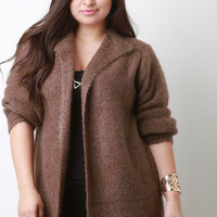 Plush Knit Open Flap Collar Cardigan