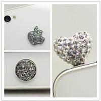 3 pcs Silver Bling Set - Royalstone Home Button & Logo Sticker and Crystal Heart Antidust for Apple iPhone 4 iPod:Amazon:Cell Phones & Accessories
