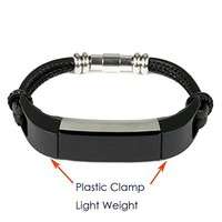 """bayite Leather Bands for Fitbit Alta Black leather Cord Wristband 5.5"""" - 6.5"""""""