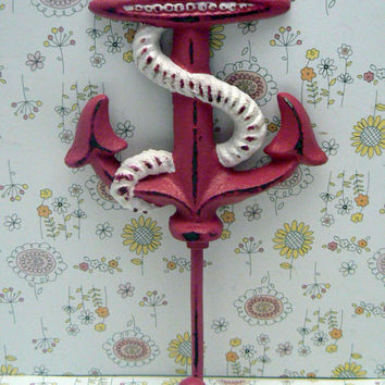 Anchor Hook Nautical Coastal Cast Iron Hot Bold Berry Pink Wall Decor Lake Beach House Jewelry Coat Keys Key Leash Hat Towel Mudroom Hook