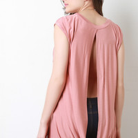 Jersey Knit High Low Open Back Top